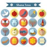 Rosh Hashanah, de vlakke vector geplaatste pictogrammen van Shana Tova Stock Foto's