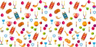 Rosh Hashanah festival symbols Shana Tova pattern Jewish Holiday Stock Illustration