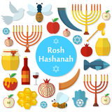 Rosh Hashanah, flache Vektorikonen Shana Tovas eingestellt Stockfotos
