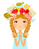 Rosh Hashanah girl. Girl's head decorated with symbols of Rosh Hashanah (Jewish New Year Stock Photo
