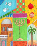 Rosh Hashanah Greeting. Whimsy illustration of Jewish new year greeting card Royalty Free Stock Photo