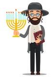 Rosh Hashanah Hombre del judío en la ropa tradicional que sostiene la biblia y ilustración del vector