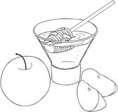 Rosh Hashanah Honey With Apples Coloring Page. Vector illustration coloring page of honey and apple for Rosh Hashanah the Jewish new year Stock Images