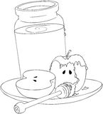 Rosh Hashanah Honey Jar and Apples Coloring Page Royalty Free Stock Image