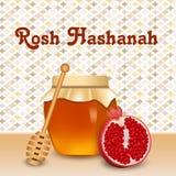 Rosh hashanah honey pomegranate concept background, realistic style royalty free illustration