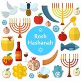 Rosh Hashanah, iconos planos del vector de Shana Tova fijados Fotos de archivo