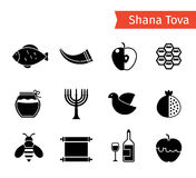 Rosh Hashanah Icons. Rosh Hashanah, Shana Tova or Jewish New year black vector icons set Royalty Free Stock Photography