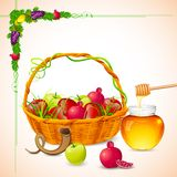 Rosh Hashanah. Illustration of Rosh Hashanah background with honey on apple Royalty Free Stock Photos