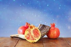 Rosh hashanah (jewesh新年)概念 传统的符号 免版税库存图片