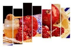 rosh hashanah jewesh holiday honey, apple and pomegranate over wooden table. traditional symbols. Royalty Free Stock Photos