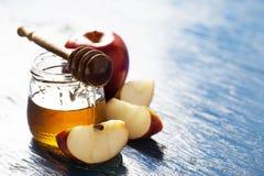 Rosh hashanah. (jewish holiday) concept: honey and apple Royalty Free Stock Photo