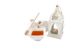 Rosh hashanah (jewish holiday) concept - honey and pomegranate on white. traditional holiday symbols. Royalty Free Stock Images