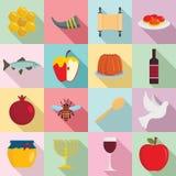 Rosh Hashanah jewish holiday icons set, flat style vector illustration