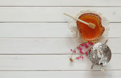 Rosh hashanah (jewish New Year) concept over wooden table Royalty Free Stock Image