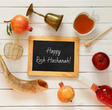 Rosh hashanah (jewish New Year) concept. Traditional symbols Stock Photo