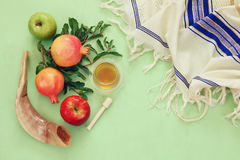 Rosh hashanah (jewish New Year) concept. Traditional symbols Stock Images
