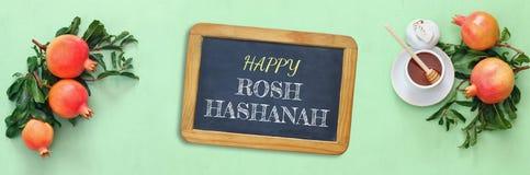 Rosh hashanah (jewish New Year) concept. Traditional symbols Royalty Free Stock Image