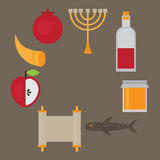 Rosh Hashanah Jewish New Year greeting card. Hebrew symbols. Judaism elements, Royalty Free Stock Photo