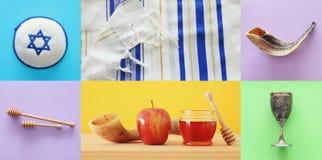 Rosh hashanah jewish New Year holiday collage concept. Traditi Stock Photos