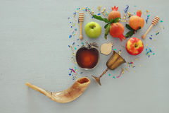 Rosh hashanah & x28;jewish New Year holiday& x29; concept. Traditional symbols Stock Image