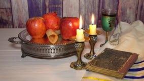Rosh hashanah jewish New Year holiday concept. Selective soft focus. Jewish Holiday Rosh hashanah jewish New Year holiday concept. Traditional symbols Selective stock footage