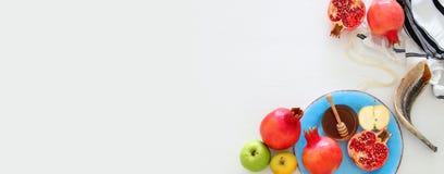 Rosh hashanah jewish New Year holiday concept. Traditional sym. Bols Royalty Free Stock Photography