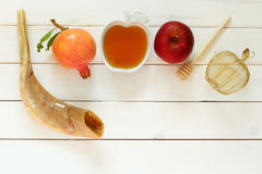 Rosh hashanah (jewish New Year holiday) concept. Traditional sym Stock Photography