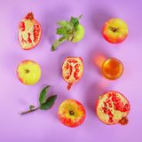 Rosh hashanah jewish New Year holiday concept. Traditional symbol. Apples, honey, pomegranate. Top view. Flat lay. Rosh hashanah jewish New Year holiday concept royalty free stock photo