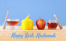 Rosh hashanah jewish New Year holiday concept. Traditional symbols. Royalty Free Stock Photos