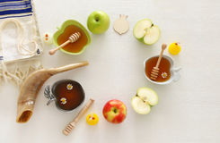 Rosh hashanah & x28;jewish New Year holiday& x29; concept. Traditional symbols Stock Photography