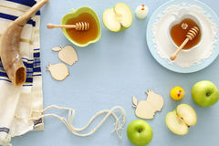 Rosh hashanah & x28;jewish New Year holiday& x29; concept. Traditional symbols Royalty Free Stock Photo