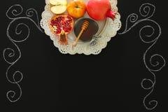 Rosh hashanah & x28;jewish New Year holiday& x29; concept. Traditional symbols. Stock Photo