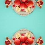 Rosh hashanah & x28;jewish New Year holiday& x29; concept. Traditional symbols Royalty Free Stock Photography