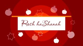Rosh Hashanah. Jewish New Year. Opening Animation. With magen david, apple and pomegranate for the festive video, presentations, footage, promo stock video footage