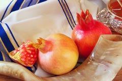 Rosh hashanah (Joods Nieuwjaar) concept Traditionele symbolen Royalty-vrije Stock Foto