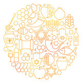 Rosh Hashanah Line Icon Circle Royalty Free Stock Photo
