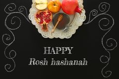 Rosh hashanah nowego roku wakacje żydowski pojęcie symbole tradycyjni zdjęcie stock