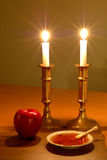 Rosh Hashanah Scene. Traditional icons of the Jewish New Year Royalty Free Stock Image