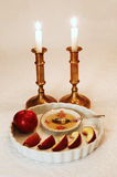 Rosh Hashanah Setting. Table set for the blessings of the Jewish New Year, Rosh Hashanah Royalty Free Stock Photo
