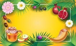Rosh Hashanah Shana Tova card - Jewish New Year stock illustration
