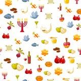 Rosh Hashanah, Shana Tova eller judisk sömlös modell för nytt år, med honung, äpple, fisk, flaska, torah, grönsallat, datum Royaltyfri Bild