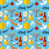 Rosh Hashanah, Shana Tova eller judisk sömlös modell för nytt år, med honung, äpplet, fisken, biet, flaskan, torah och annat trad stock illustrationer