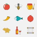 Rosh Hashanah, Shana Tova flat line icons Stock Image