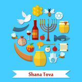 Rosh Hashanah, Shana Tova flat vector icons set Royalty Free Stock Photography
