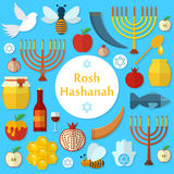 Rosh Hashanah, Shana Tova flat vector icons set Stock Images