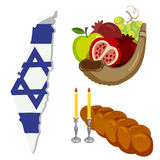 Rosh Hashanah, Shana Tova flat vector icons set. Stock Images