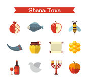 Rosh Hashanah or Shana Tova. Rosh Hashanah, Shana Tova or Jewish New year flat vector icons set Stock Photo