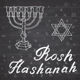 Rosh Hashanah, Shana Tova or Jewish New year Hand drawn sketch and lettering, vector illustration on chalkboard background royalty free illustration