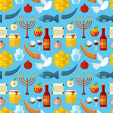 Rosh Hashanah, Shana Tova or Jewish New year seamless pattern, with honey, apple, fish, bee, bottle, torah and other traditional i. Tems Royalty Free Stock Photography