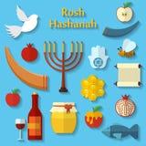 Rosh Hashanah, Shana Tova ou os ícones lisos judaicos do vetor do ano novo ajustaram, com mel, maçã, peixes, abelha, garrafa, tor Imagens de Stock